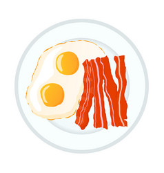 Bright fried eggs with bacon breakfast icon vector