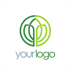 green leaf icon line logo vector image