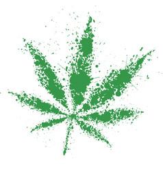 Grunge cannabis green leaf vector image