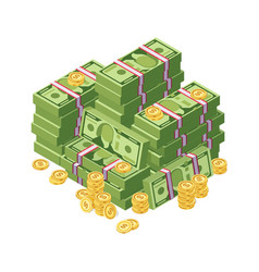 huge pile of dollar cash money and golden coins vector image vector image