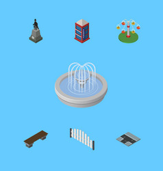 isometric city set of barricade sculpture park vector image vector image