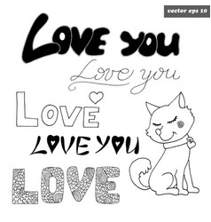 love signs with dog vector image vector image