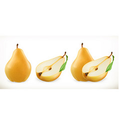 Pear Sweet fruit 3d icons set Realistic vector image vector image