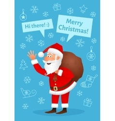 Santa Claus flat character isolated on blue vector image vector image