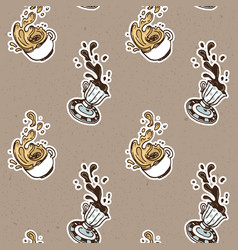 Vintage coffee cups seamless pattern vector
