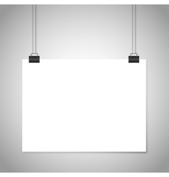 White blank paper hanging sign mockup vector image vector image