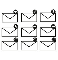 envelopes set of icons vector image vector image