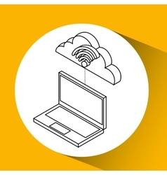 laptop cloud technology wifi vector image vector image