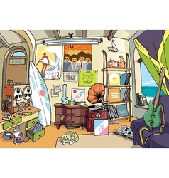 Room of a Surfer vector image vector image