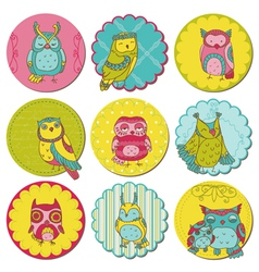 Scrapbook Design Elements - Tags with Cute Owls vector image vector image
