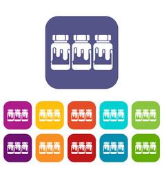 Three plastic jars with gouache icons set vector