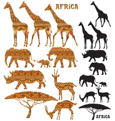 African Animal Silhouettes vector image vector image