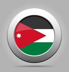 flag of jordan shiny metal gray round button vector image