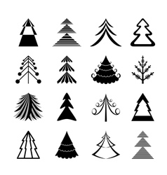 Graphic Christmas trees icons vector image vector image