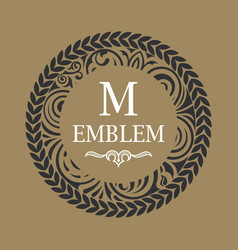 calligraphic floral baroque monogram emblem s vector image
