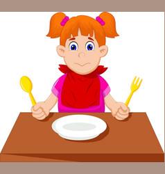 cute little girl cartoon waiting for breakfast vector image vector image