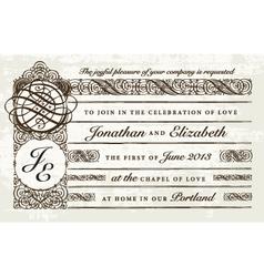 Distressed victorian invitation vector