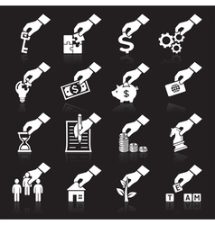 Hand concept icons white vector image vector image