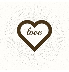 heart and rays for t-shirt apparel vector image vector image
