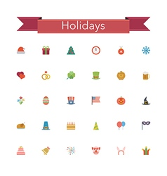 Holidays Flat Icons vector image vector image