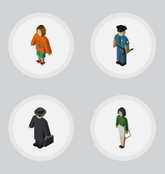 Isometric person set of officer pedagogue vector
