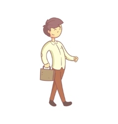 Office Worker Happily Going To Work vector image vector image