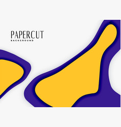 Abstract papercut background in purple and yellow vector
