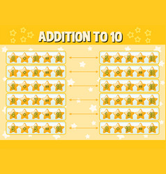 addition to ten with yellow stars vector image