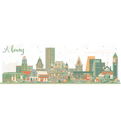 albany new york city skyline with color buildings vector image