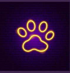 Animal footprint neon sign vector