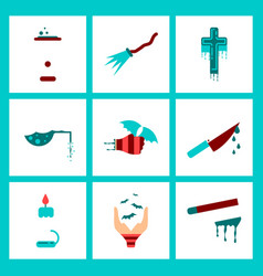 Assembly flat icons knife blood wax candle hand vector