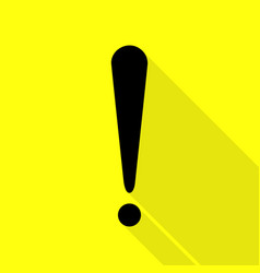 attention sign black icon with flat vector image