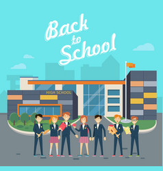 back to school teacher with pupils on school yard vector image