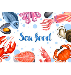 Background with various seafood of vector