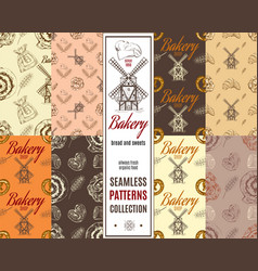 Bakery patterns set vector