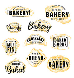 bakery shop cakes pastry sketch lettering vector image
