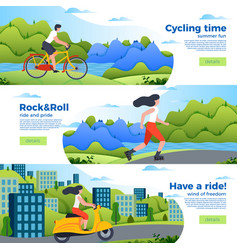 Banner templates with bike roller and motorbike vector