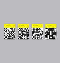 Bauhaus geometric pattern background poster and vector