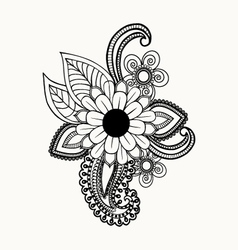 Beautiful Black and white flowers and leaves vector image