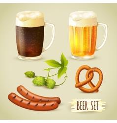 Beer and snacks set vector
