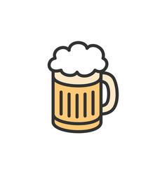 beer mug flat color line icon vector image