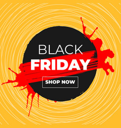 black friday sale banner with ink brush vector image