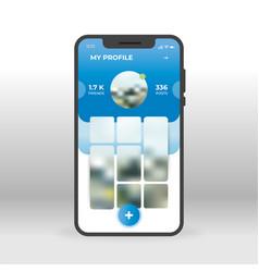 Blue social network profile page ui ux gui screen vector