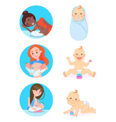 breastfeeding concept woman and children vector image