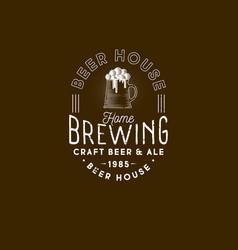 Brewing logo pub emblem mug beer and foam vector