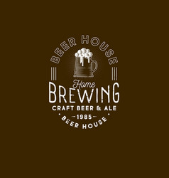 brewing logo pub emblem mug of beer and foam vector image