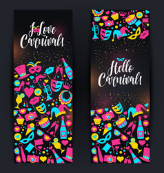 bright carnival banners in neon style vector image