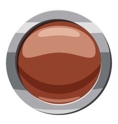 Brown button icon cartoon style vector