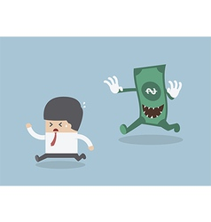 Businessman running away from the money monster vector image