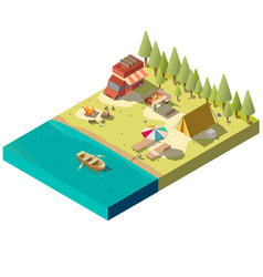 Camping pitch on river shore isometric vector
